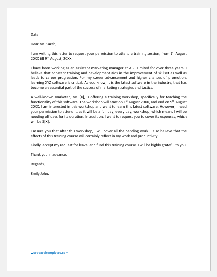 Request Letter to Attend Training Course
