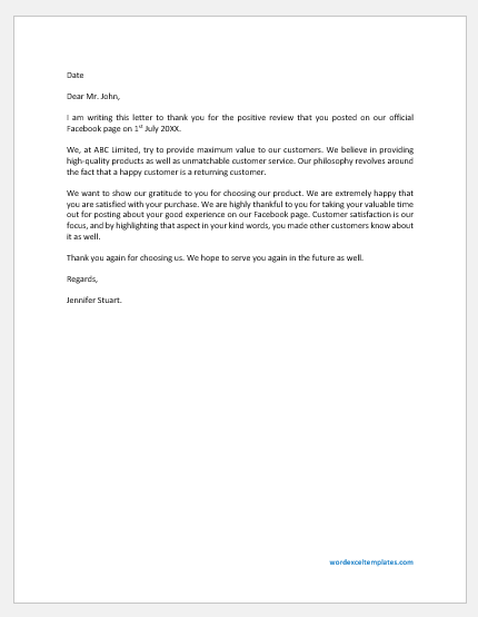 Response Letter to Positive Review of Product on Facebook