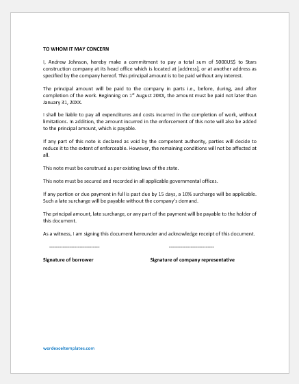 Work Completion Promissory Note