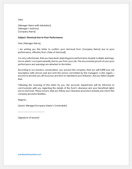 Dismissal letter for company manager due to poor performance