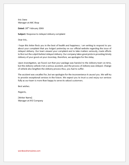 Response to Complaint of Delay of Delivery