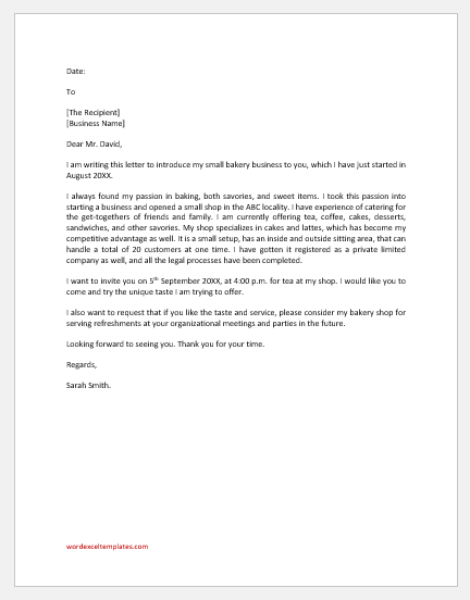 Bakery business introduction letter