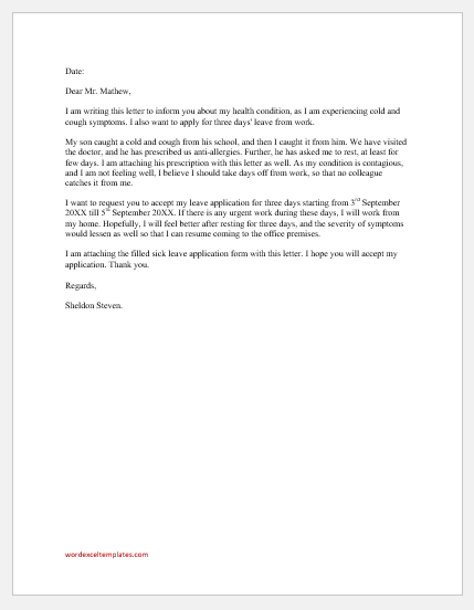 Cold and cough leave letter to office