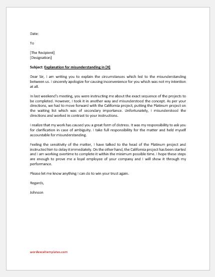 Explanation letter to boss for misunderstanding