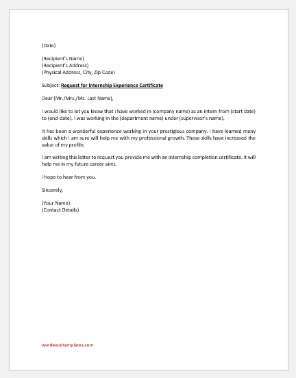Internship experience request letter