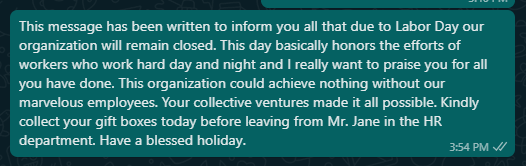Labor Day closing messages