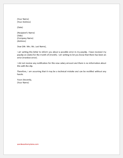 Letter informing HR about salary mistake