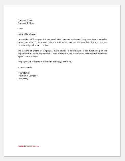 Letter reporting misconduct of an employee