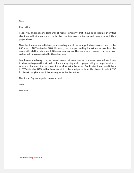 Letter to Father Asking Permission to Go for an Excursion