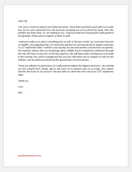 Letter to Father Asking Permission to Trip to Nagzira Sanctuary