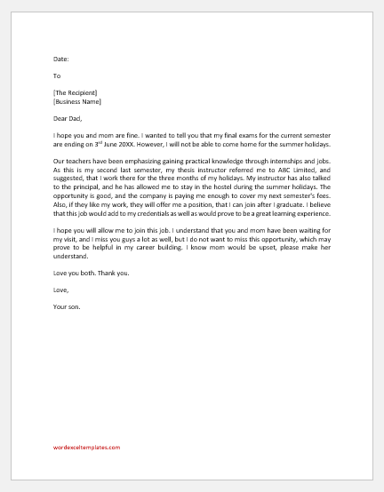 Letter to Father Requesting to take up a Job During Summer Holidays