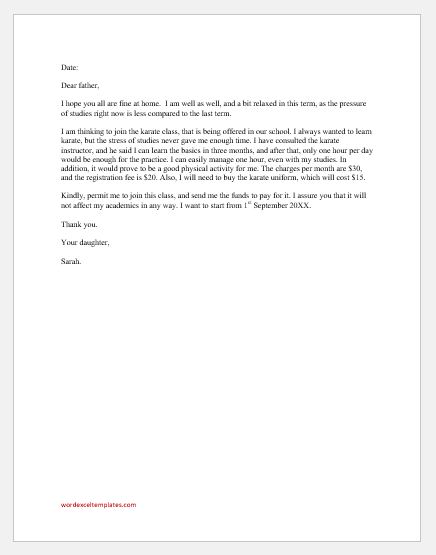 Letter to Father Seeking Permission to Join Karate Class