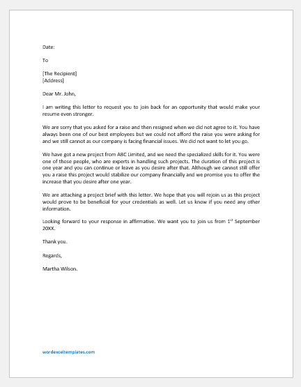 Letter to Rejoin after Resignation due to Refusal of a Raise