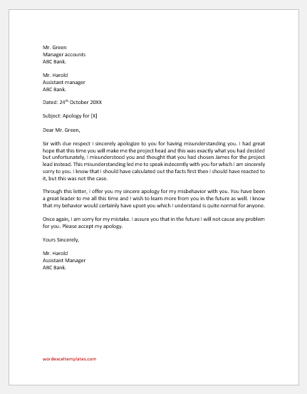 Letter to boss to clear misunderstanding