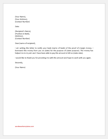 Margin money proof letter to bank