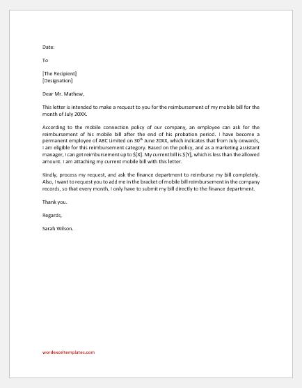 Mobile Bill Reimbursement Letter