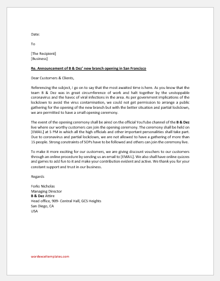 New branch opening announcement letter