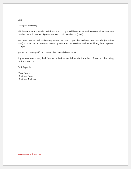 Payment advice letter