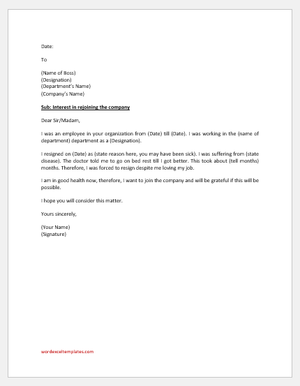Request letter to rejoin the company