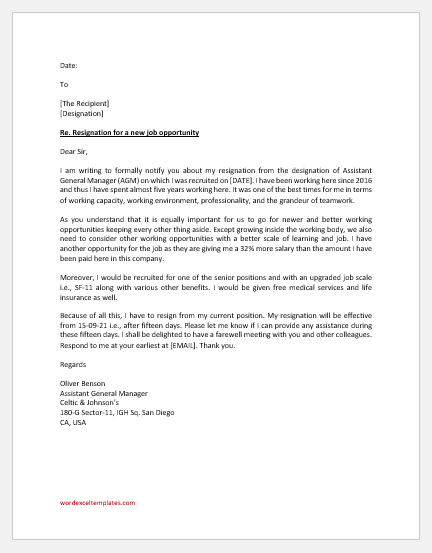 Resignation letter for a new job opportunity