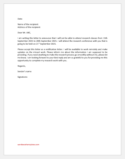 Absence Excuse Letter to Research Supervisor
