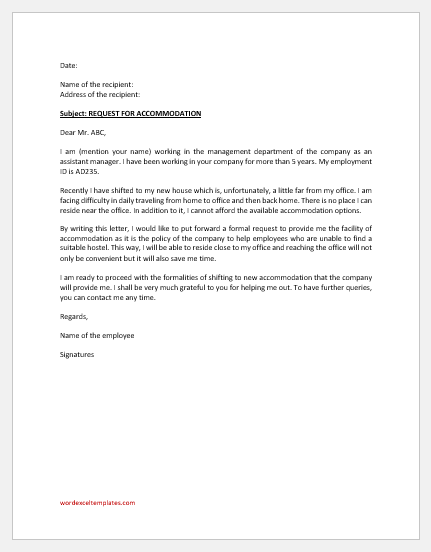 Accommodation request letter to company