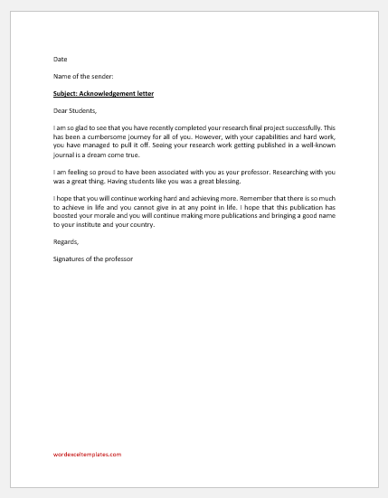 Acknowledgment Letter of Professor to Capable Student
