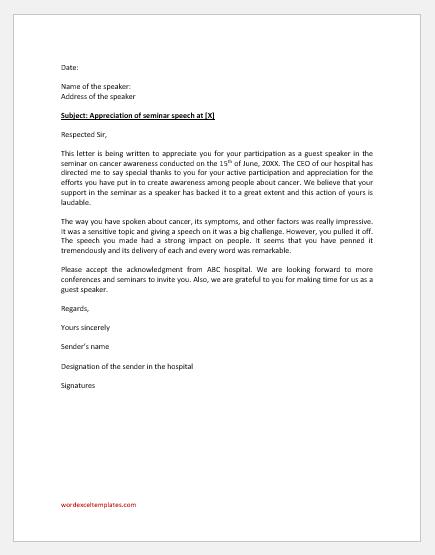 Appreciation Letter to Seminar Guest Speaker
