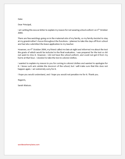 Excuse Letter for not Wearing School Uniform