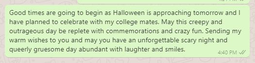 Halloween celebration message