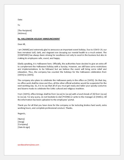 Halloween holiday announcement letter