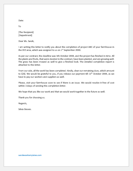 Horticulture Project Completion Report Letter