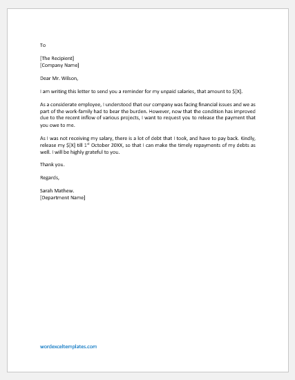 Letter to Boss for the Money he owes the Employee
