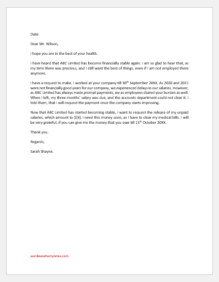 Letter to Recover Pending Salaries from the Ex-employer