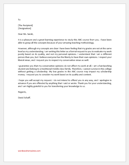 Polite Letter to Liberal Teacher for Evaluating Work & not Opinion