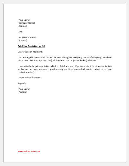 Price quotation letter to buyer