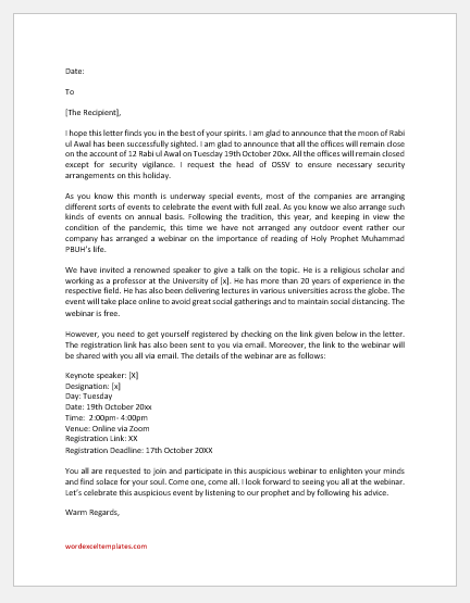 Rabi ul Awal holiday announcement letter