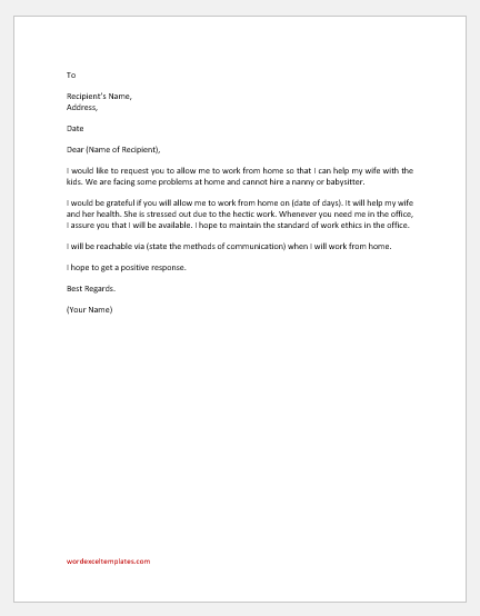 Request Letter to Work from Home to help Wife with Kids