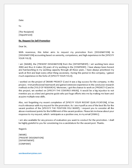 Self-promotion request letter to boss