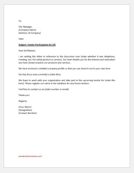 Tender participation letter