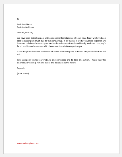 Thank you letter for business partnership