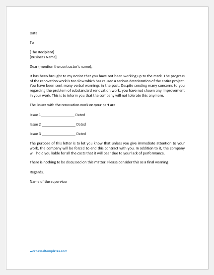 Warning letter to renovation contractor