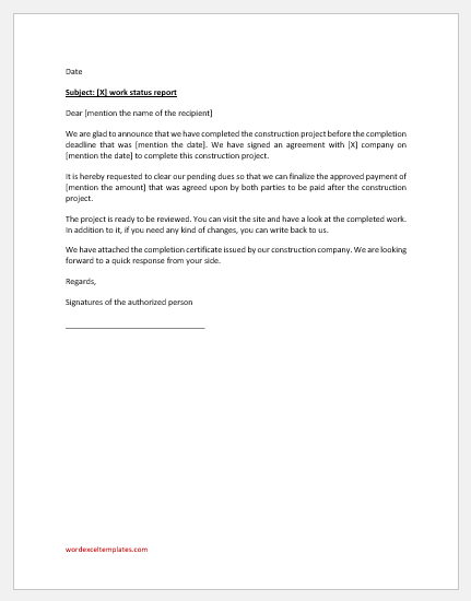 Work completion report letter
